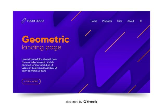 Geometric blue shades minimal landing page