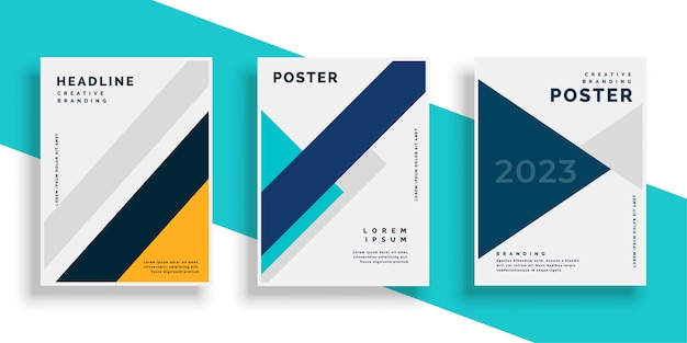 Geometric book cover flyer designs set