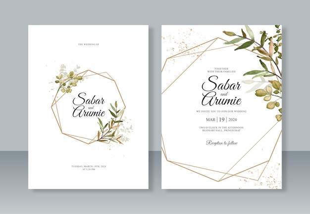 Geometric border and watercolor leaf painting for wedding invitation card template