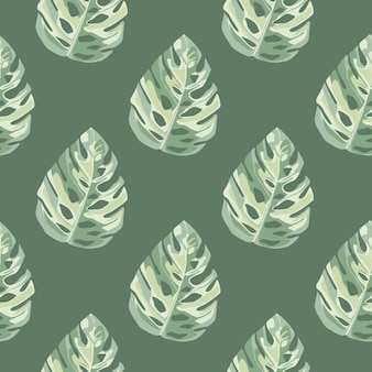Geometric botanic seamless pattern with monstera leaves in white and green colors.