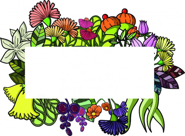 Geometric botanical frame. wildflowers, various plants, leaves and herbs.