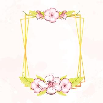 Геометрическая ботаническая золотая рамка