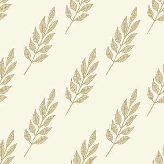 Geometric branches leaf seamless pattern. hand drawn vintage leaves wallpaper.