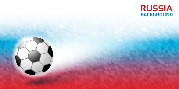 Geometric bright abstract horizontal background. russia 2018 flag colors. soccer ball icon.