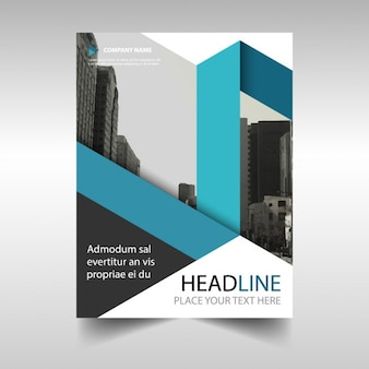 Geometric brochure with a blue ribbon