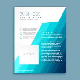 Geometric brochure with blue tones