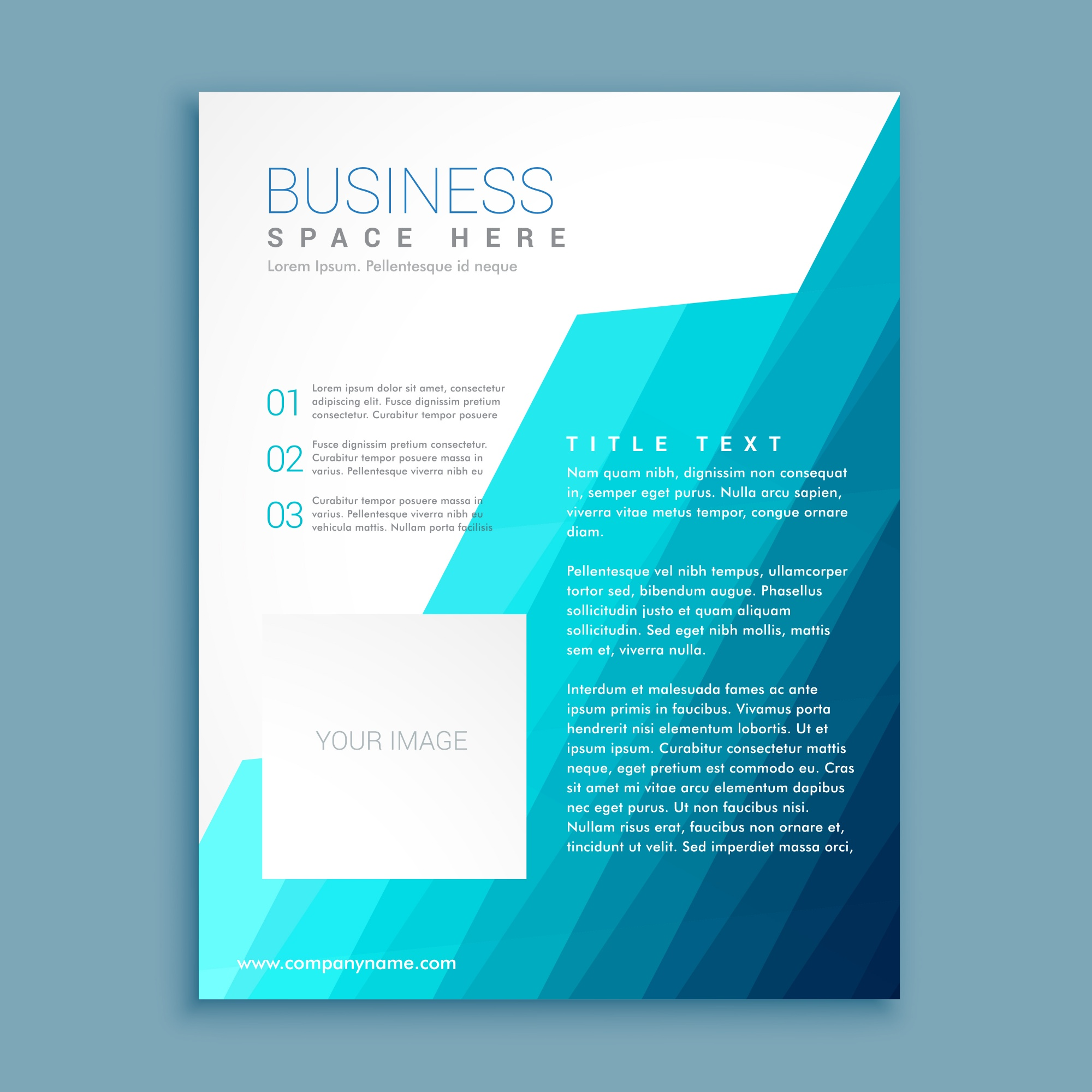 Geometric brochure with blue tones