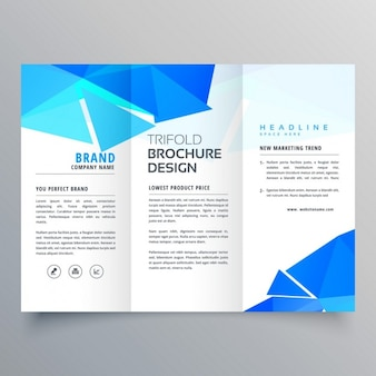 Geometric brochure with blue triangular shapes