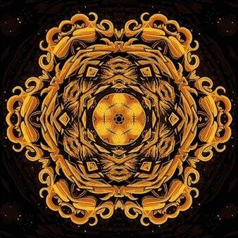 幾何学的なð°抽象万華鏡ゴールドシームレスパターン。デザインのイラスト。鮮やかな色とりどりの花