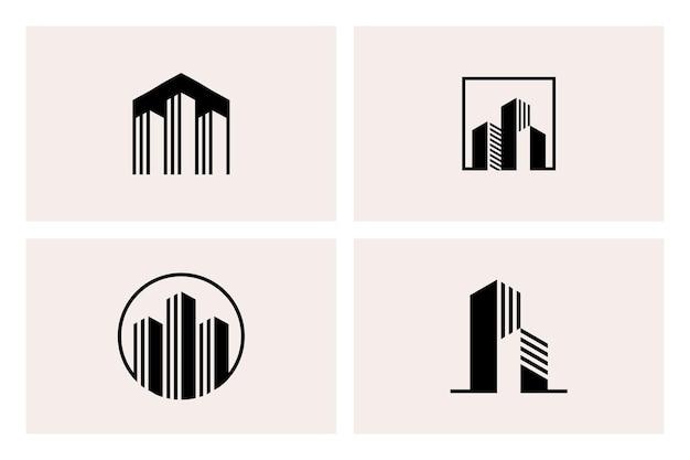 Geometric building apartment architecture logo template set