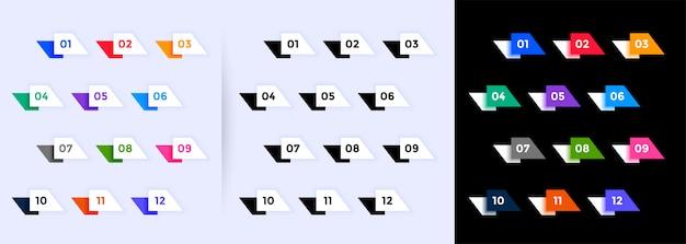 1から12までの幾何学的な弾丸ポイントコレクション