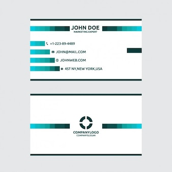 Geometric busines card white and green