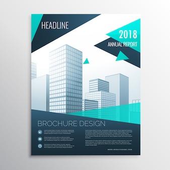 サイズa4の幾何学的な形のスタイリッシュな青いビジネスパンフレットのデザイン