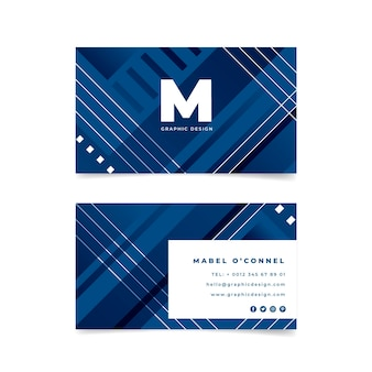 Geometric business card on classic blue color