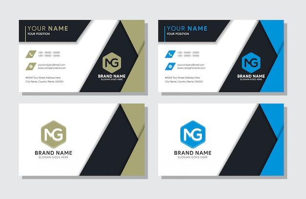 Geometric business card minimal templates set.