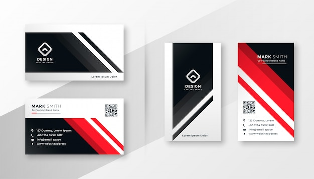 Geometric business card in red theme