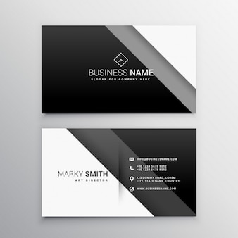 Geometric business card with black bands