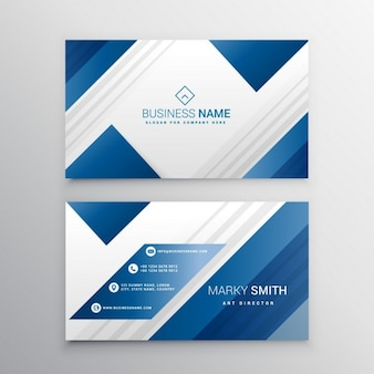 Geometric business card with blue shapes