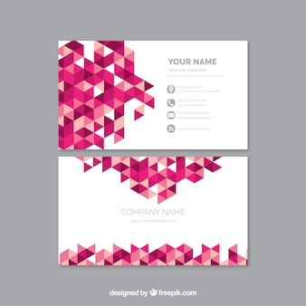 Geometric business card with pink details
