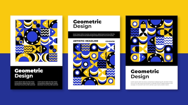 Geometric business cover collection template