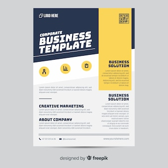 Geometric business flyer template flat design