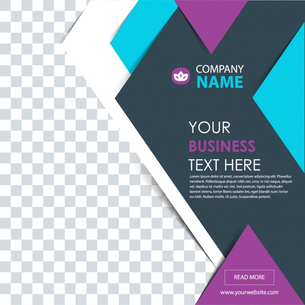 Geometric business flyer with purple details