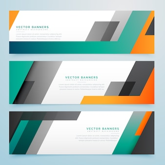 Geometric business headers set background