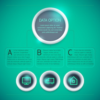Geometric business infographic template with circles text icons three options on green background isolated
