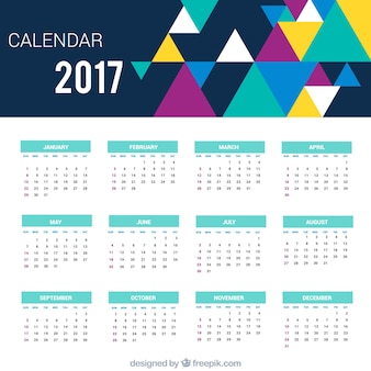 Geometric calendar of 2017 with colored triangles