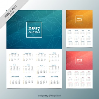 Geometric calendars in different sizes