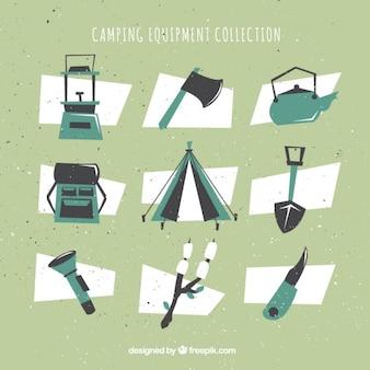Geometric camping equipment set