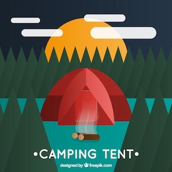 風景の中に幾何学的なキャンプのテント