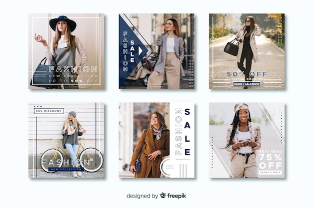 Geometric casual instagram post collection template