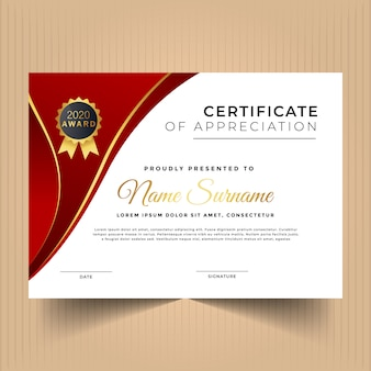 Geometric certificate of appreciation design template with gold line