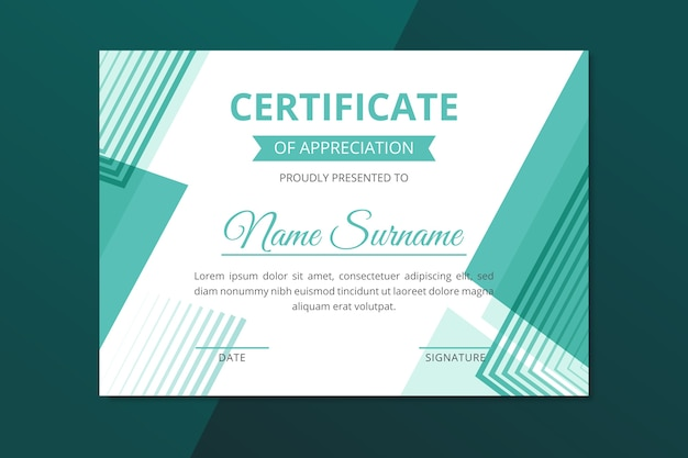Geometric certificate template abstract style