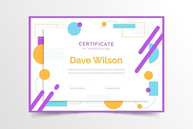Geometric certificate template concept