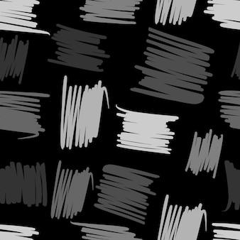 幾何学的な混沌としたラインのシームレスなパターン。テキスタイルファブリックまたは本の表紙、壁紙、デザイン、グラフィックアート、黒の背景にラッピングの抽象的なフリーハンドの背景