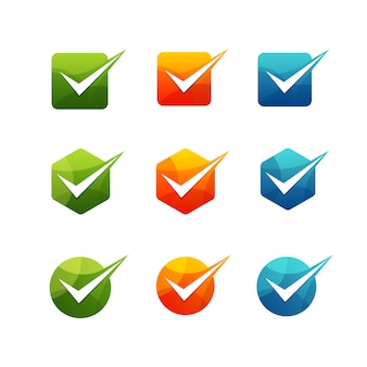 Geometric check mark icon set