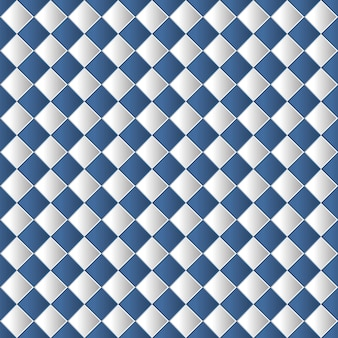 Geometric chessboard seamless pattern background in blue color