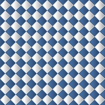 青い色の幾何学的なチェス盤のシームレスなパターン背景