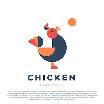 幾何学的なチキンのロゴデザインあなたのビジネスやブランドのためのチキンのロゴ