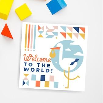 Geometric child-like baby cards