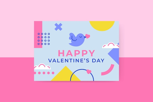 Geometric childlike valentine's day horizontal card template