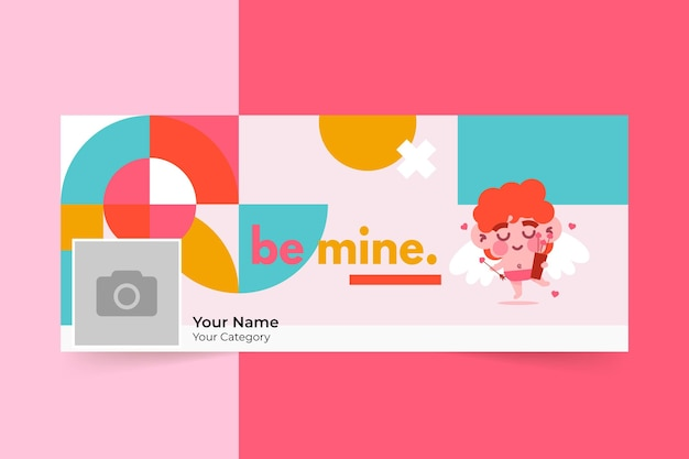 Geometric childlike valentine's day social media cover