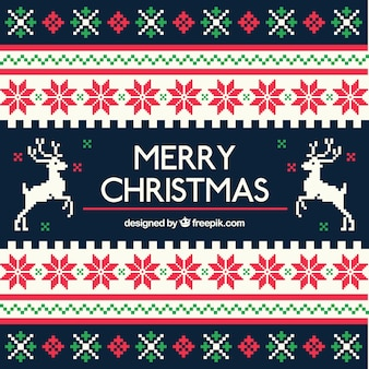 Geometric christmas background in cross stitch style