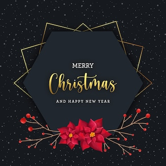 水彩画の装飾と幾何学的なクリスマスの挨拶
