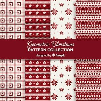 Коллекция геометрических рождественских образцов