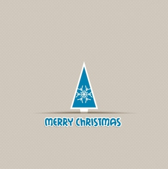 Geometric christmas tree with a snowflake background