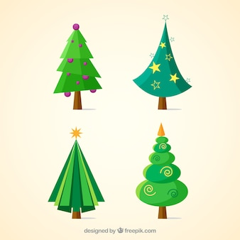 Geometric christmas trees collection