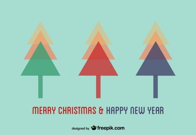 Geometric christmas trees postcard
